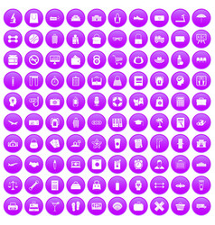 100 bag icons set purple vector