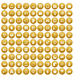 100 web development icons set gold vector