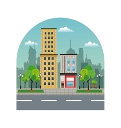 Town buildings shops silhouette landscape city vector