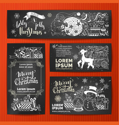 set of chalk merry christmas banners on vector image