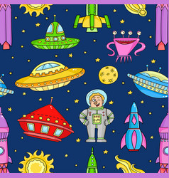 Seamless pattern with space objects ufo rockets vector
