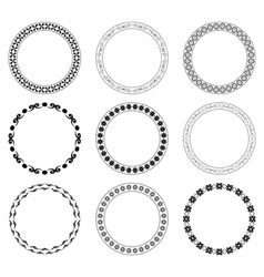 Black round frames with ornament - set vector