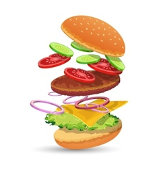 Hamburger ingredients emblem vector