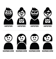 Hipster and normcore trend style - man and woman vector