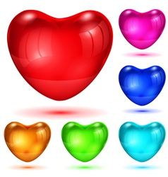 Set of opaque glossy hearts vector