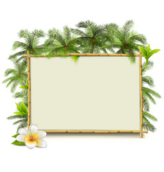 Bamboo frame with palm vector