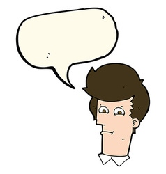 Cartoon man narrowing eyes with speech bubble vector