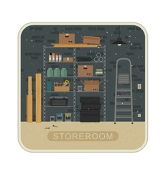 Storeroom interior with brickwall vector