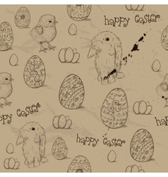 Vintage seamless texture with easter eggs vector