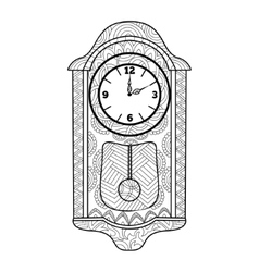 Pendulum clock coloring book for adults vector