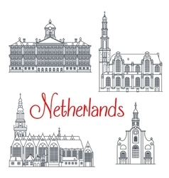 Thin line travel icons of netherlands vector