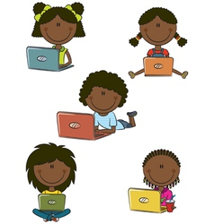 African-american cheerful girls with laptops vector
