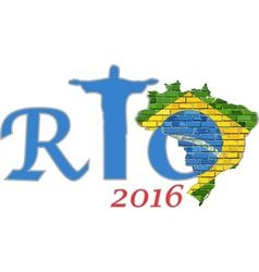 Rio 2016 and brazil map on a brick wall vector
