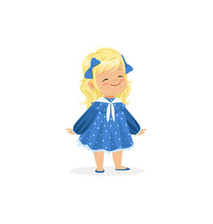 beautiful blonde little girl posing in blue dress vector image vector image