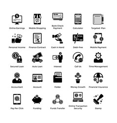business and finance glyph icons set 3 vector image