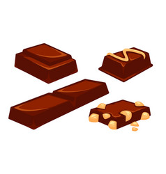 Chocolate bars and pieces dessert bar milk black vector
