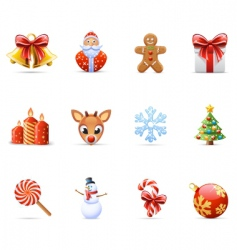 Christmas icon set vector image vector image