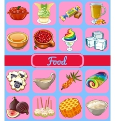 Collection of icons food vector image vector image