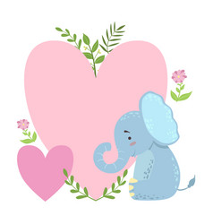 elephant with two big hearts and plants vector image