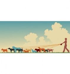 female dog walker vector image vector image