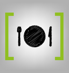 Fork plate and knife black scribble icon vector