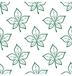 Green stylized chestnut leaves seamless background vector image