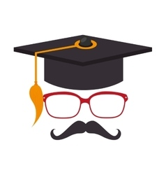 Hat graduation hipster style vector