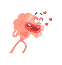 Humanized cartoon brain character in love vector