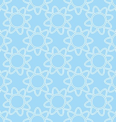 Linear white flowers on blue background seamless vector image vector image