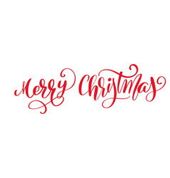 merry christmas red calligraphic lettering vector image vector image