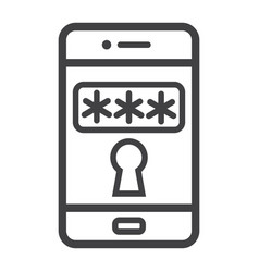 Mobile security line icon security and smartphone vector