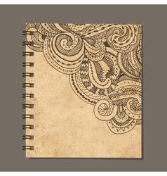 Notebook design zenart ornament Old grunge paper vector image