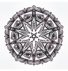 Satanic eye mandala symbol vector