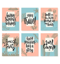 Set of Hand drawn summer vacation posters vector image