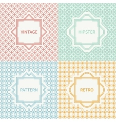 Set of mono line seamless pattern with circle vector