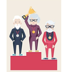 Three senior people on a winners podium vector
