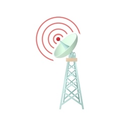 Tower with communication dish icon cartoon style vector