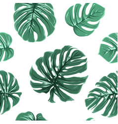 Tropical exotic monstera leaves seamless pattern vector