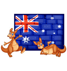 two kangaroo and flag of australia vector image