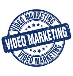 Video marketing blue grunge stamp vector