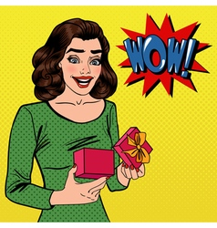 Woman with Gift Excited Woman with Present vector image vector image