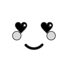 Kawaii happy heart eyes facial expression icon vector