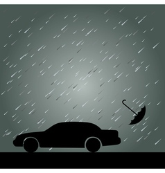 Rain umbrella and car vector