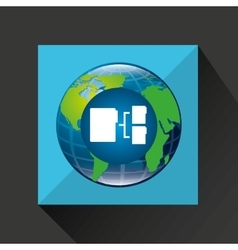 Globe world connection data transfer service vector