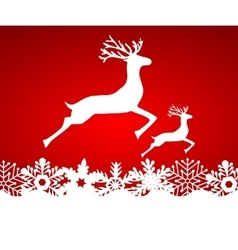 Two reindeer jump to each other on a red vector