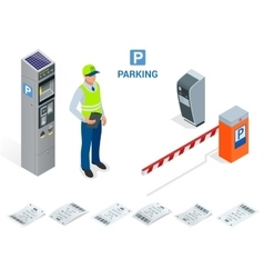 Isometric parking attendant parking ticket vector