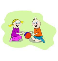Children playing in the sandbox vector
