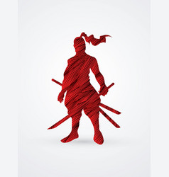Samurai warrior standing ready to fight with sword vector