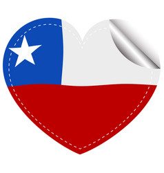 chile flag in heart shape vector image