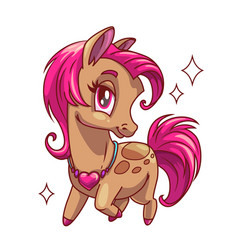 Little cute glamour horse with pink hair vector